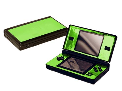lime green chrome nintendo ds lite gaming console skin decal