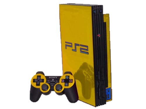 Yellow Chrome Sony PlayStation 2 Gaming Console Skin Decal