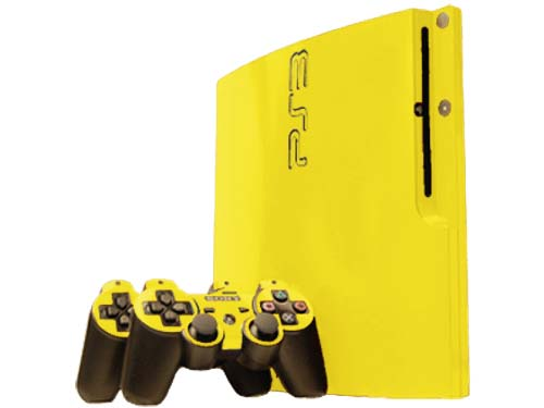 Yellow Sony PlayStation 3 Slim Gaming Console Skin Decal