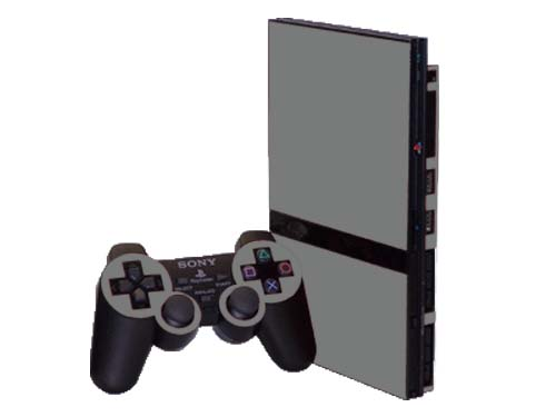Silver Sony PlayStation 2 Slim Gaming Console Skin Decal