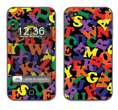 Apple iPhone 4 Skin :: Alphabet Soup