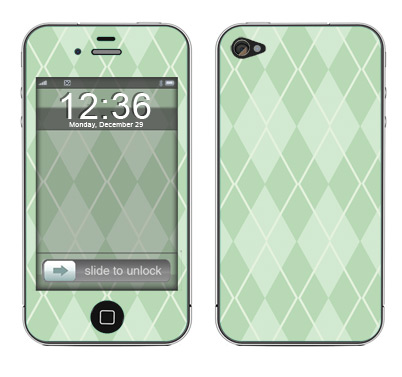 Apple iPhone 4 Skin :: Argyle Green