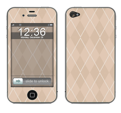 Apple iPhone 4 Skin :: Argyle Tan