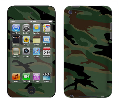 Apple iTouch 4th Gen Skin :: Camo Green