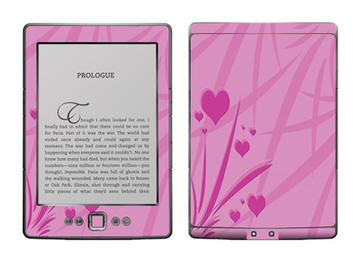 Floating Hearts Amazon Kindle 4 E-book Reader Skin Decal