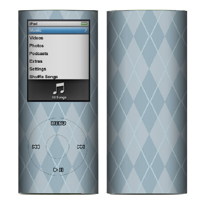 Apple Nano 4th Gen Skin :: Argyle Blue