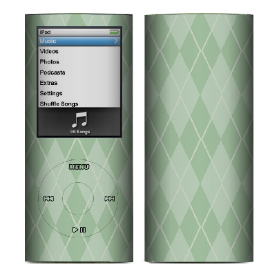 Apple Nano 4th Gen Skin :: Argyle Green