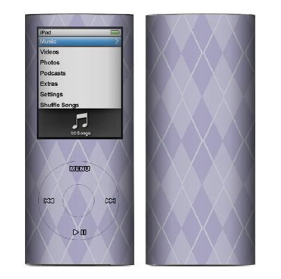 Apple Nano 4th Gen Skin :: Argyle Purple