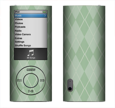Apple Nano 5th Gen Skin :: Argyle Green