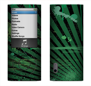 Apple Nano 5th Gen Skin :: Splatter Green