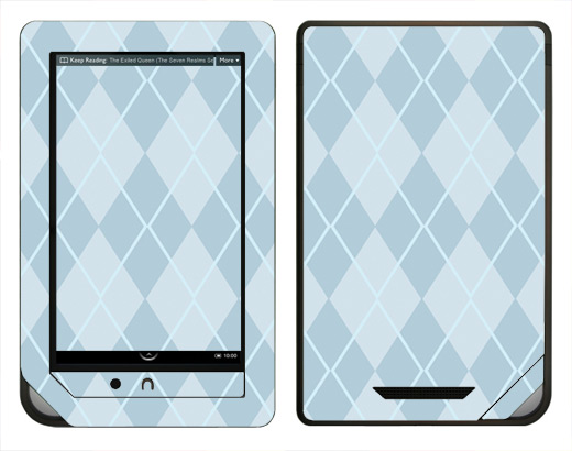 Argyle Blue Barnes & Noble Nook Color E-book Reader Skin Decal