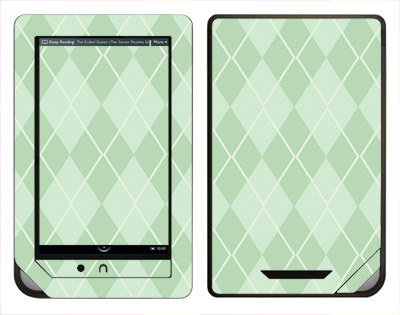 Barnes & Noble Nook Color Skin :: Argyle Green