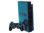 Sony PlayStation 2 Skin :: Sky Blue Chrome