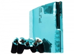 Sony PlayStation 3 Slim Skin :: Sky Blue Chrome
