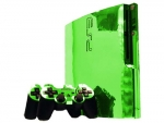 Sony PlayStation 3 Slim Skin :: Lime Green Chrome