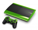 Sony PlayStation 3 Super Slim Skin :: Lime Green Chrome