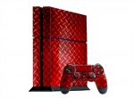 Sony PlayStation 4 Skin :: Diamond Plate Red