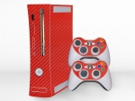 Microsoft Xbox 360 (1st Gen) Skin :: 3D Carbon Fire Red