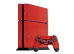 Sony PlayStation 4 Skin :: 3D Carbon Fire Red