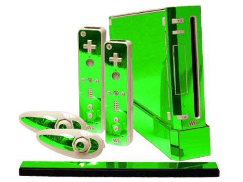 Perfect Lime Green Chrome Nintendo Wii Gaming Console Skin Decal KH91