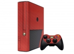Microsoft Xbox 360 (3rd Gen) Skin :: 3D Carbon Maroon Red